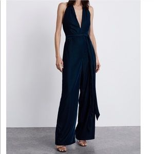 Zara Pants - Dark blue velvet jumpsuit - Zara